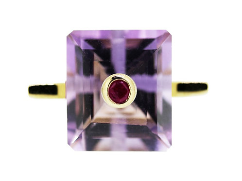 Emerald Cut Amethyst and Ruby Cocktail Ring