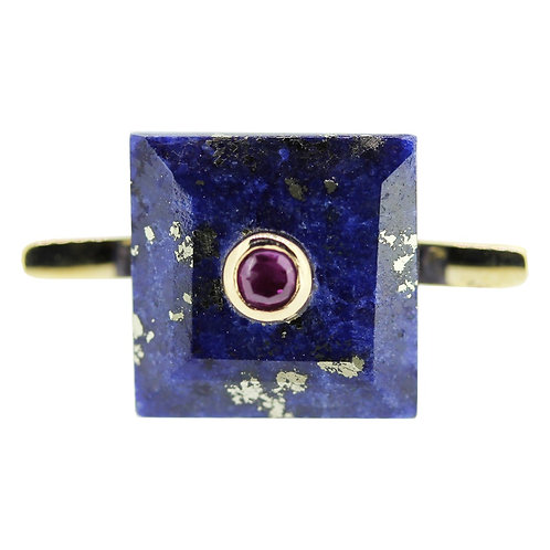 Princess Cut Lapis Lazili and Ruby Cocktail Ring