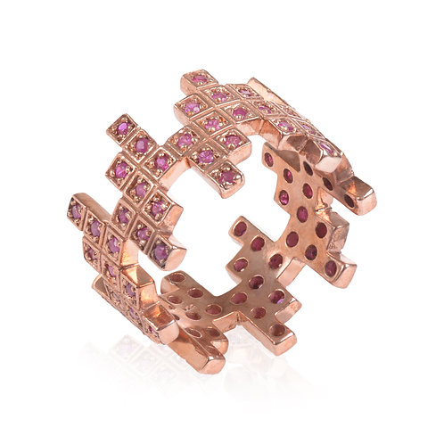 ZigZag Rose Gold and Ruby Ring