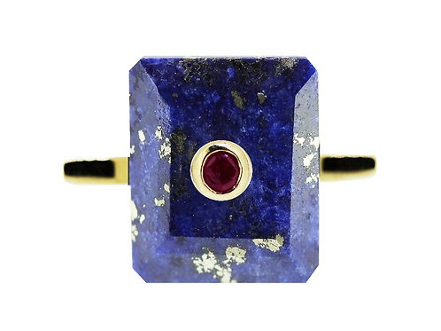 Emerald Cut Lapis Lazuli and Ruby Cocktail Ring