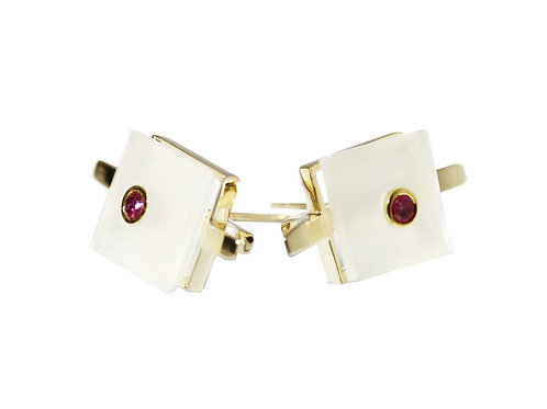 Princess Cut White Chalcedony and Ruby Cocktail Studs