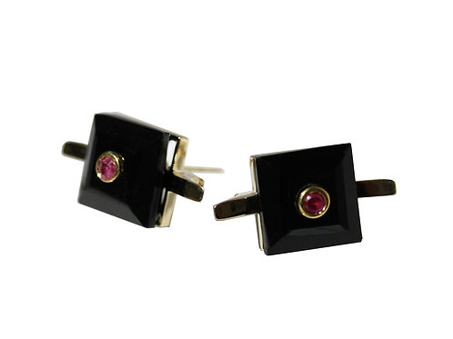Princess Cut Onyx and Ruby Cocktail Studs