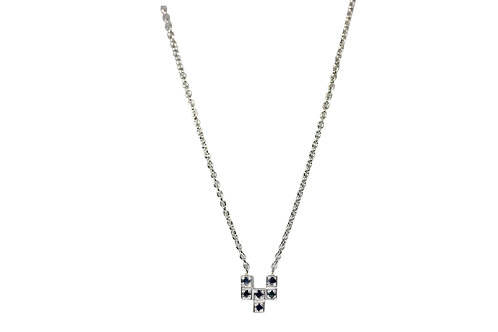 Petite ZigZag Silver and Sapphire Charm Necklace