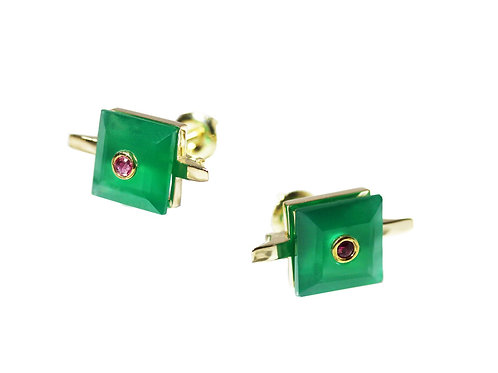 Princess Cut Green Chalcedony and Ruby Cocktail Studs