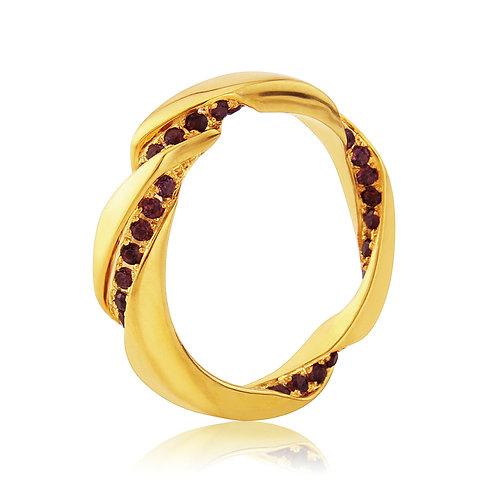 Asymmetrical twist yellow gold vermeil ring