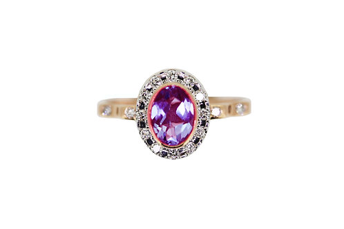 Classic diamond halo rose gold ring with amethyst