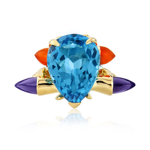 Blue Topaz and Bullet Carnelian Cocktail Ring