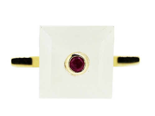 Princess Cut White Chalcedony and Ruby Cocktail Ring