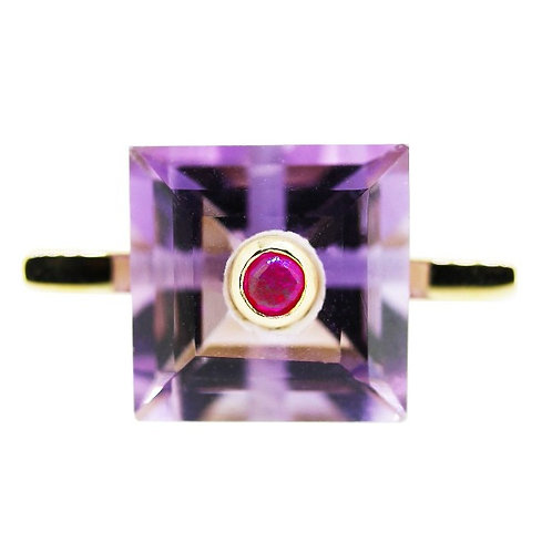 Princess Cut Amethyst and Ruby Cocktail Ring