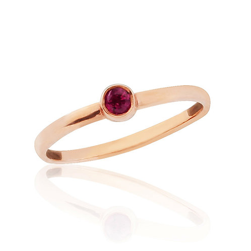 Rose Gold Midi Ring With Natural Garnet
