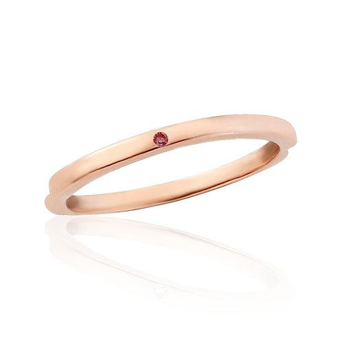 Rose Gold Midi Ring Flush Set With Natural Garnet