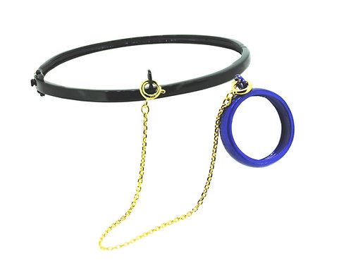 Lost &found black bangle &royal blue ring set