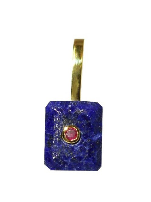 Emerald Cut Lapis Lazili and Ruby Cocktail Pendant
