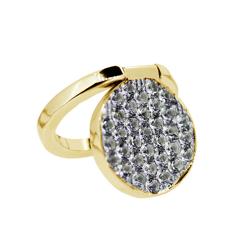 Yellow Gold Vermeil Sterling Silver Fordable Ring set with natural white topaz