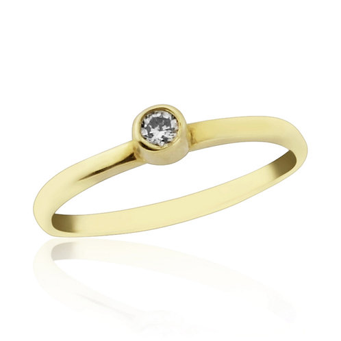 Yellow Gold Midi Ring With Natural Diamond