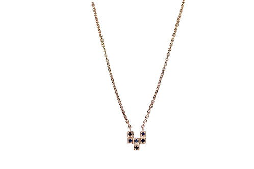 Petite ZigZag Silver and Rose Gold Charm Necklace