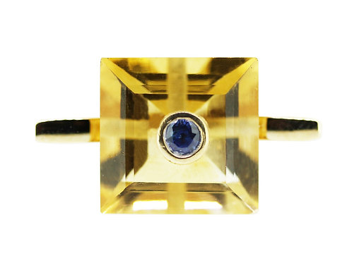 Princess Cut Citrine and Sapphire Cocktail Ring