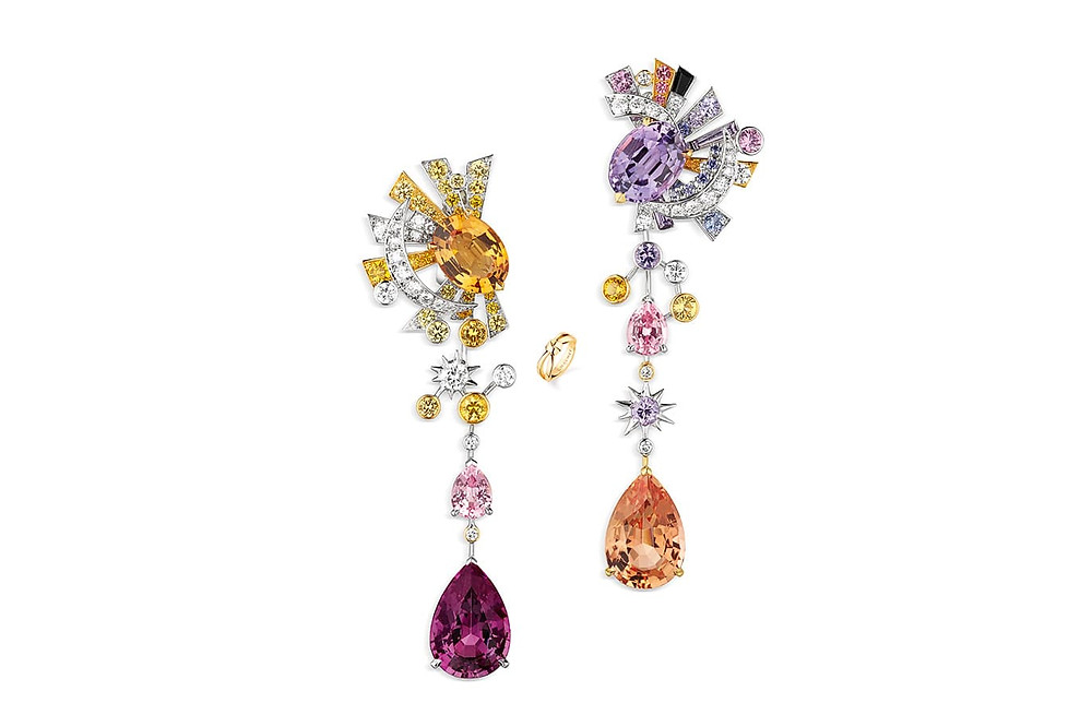10.	Chaumet 'Les Ciels de Chaumet' collection 'Lueurs d'orage' earrings with Imperial topaz, rhodolite garnet, sapphires, spinels, diamonds and onyx in white and yellow gold.