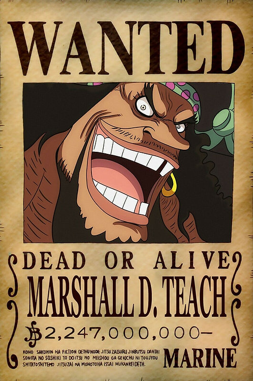MARSHALL D TEACH (BARBE NOIRE) - Affiche wanted A3