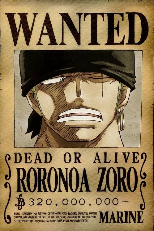 RORONOA ZORO - Affiche wanted A3