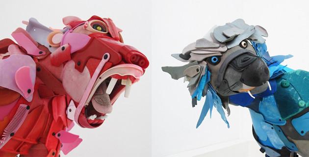 Sculptures d'animaux en voie de disparition réalisée via l'assemblage de morceaux de plastiques récupérés