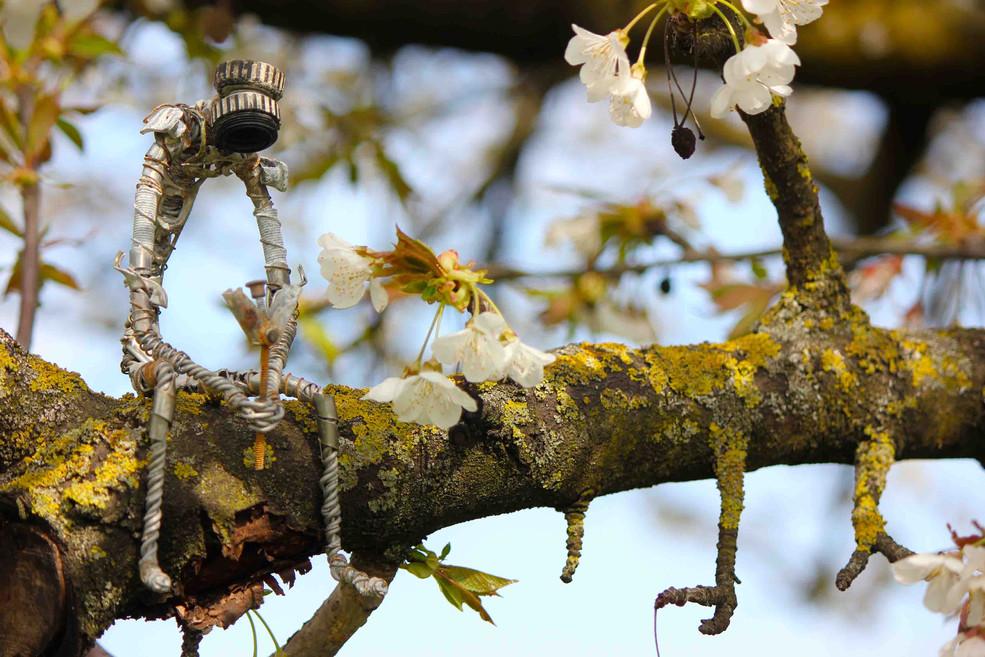Robot triste sur une branche