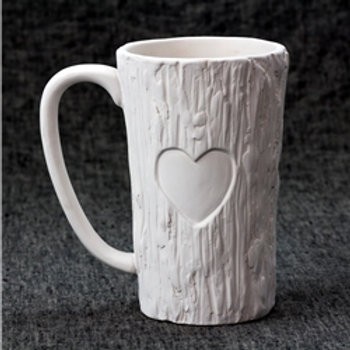 Tall Wood Mug with Heart