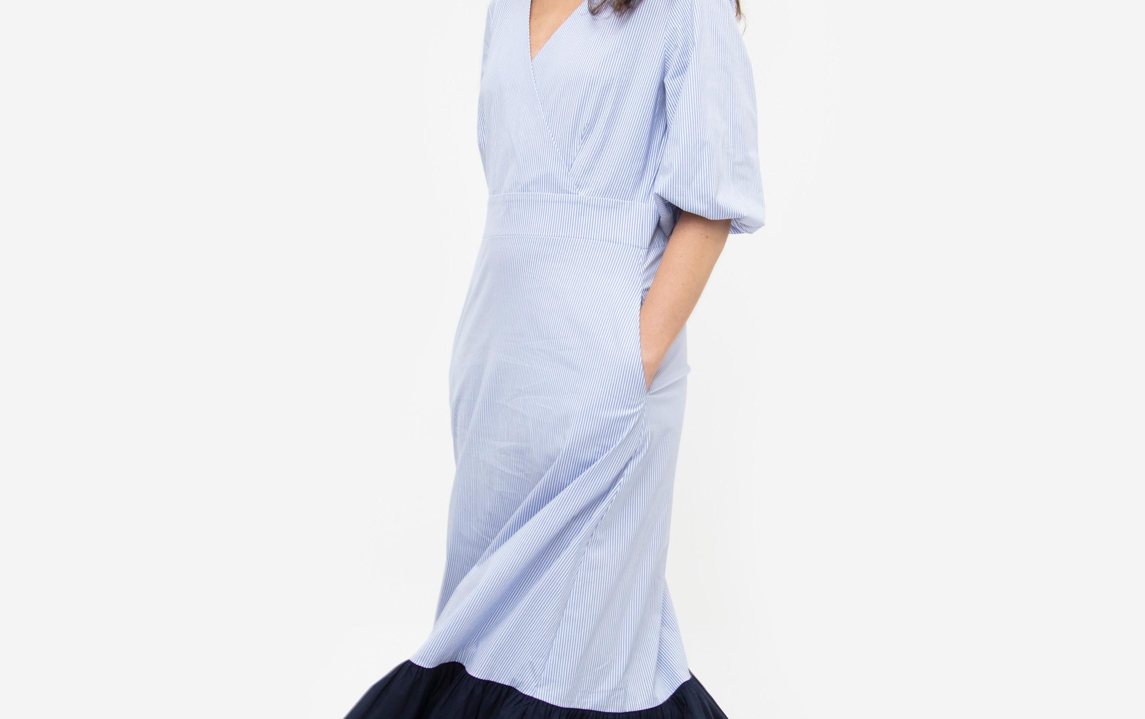 Pin Striped Poplin Puff Sleeve Maxi Samantha Dress