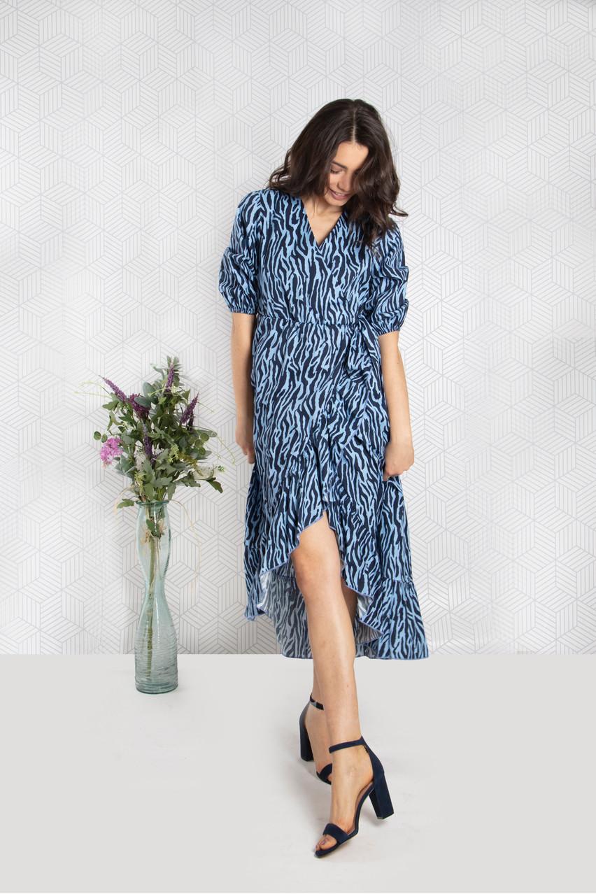 Blue/Navy Poplin Wrap Dress