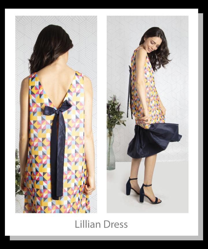 Geometric printed chiffon dress