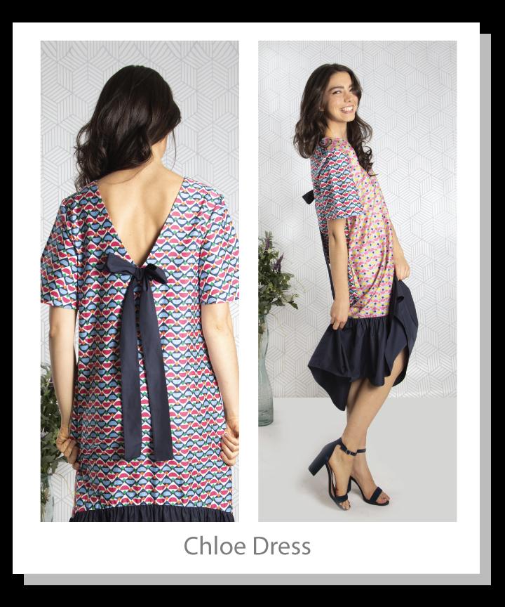 Geometric printed light weight poplin dress