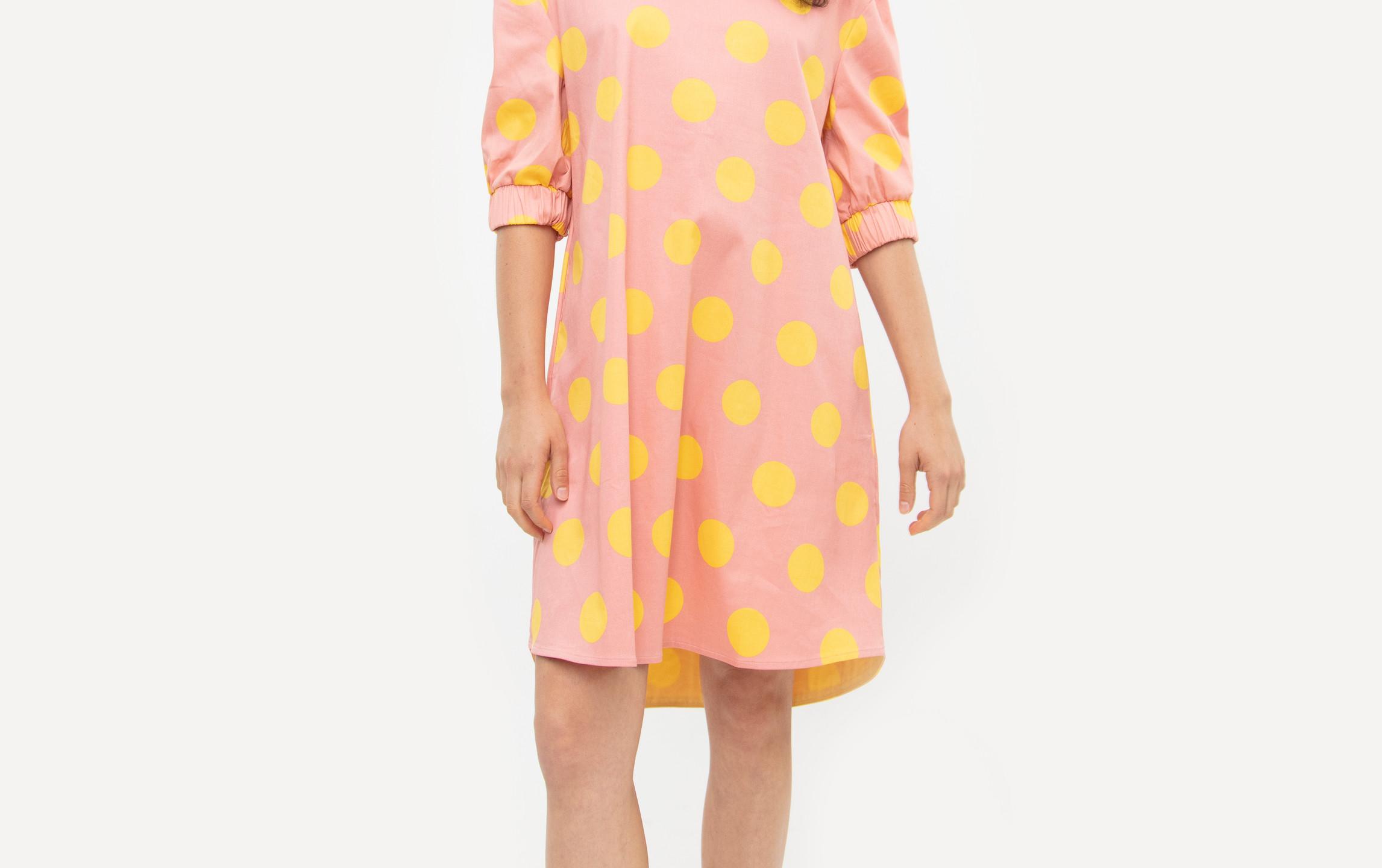 Cotton Polka Dot Puff Sleeve Mini Jackie Dress