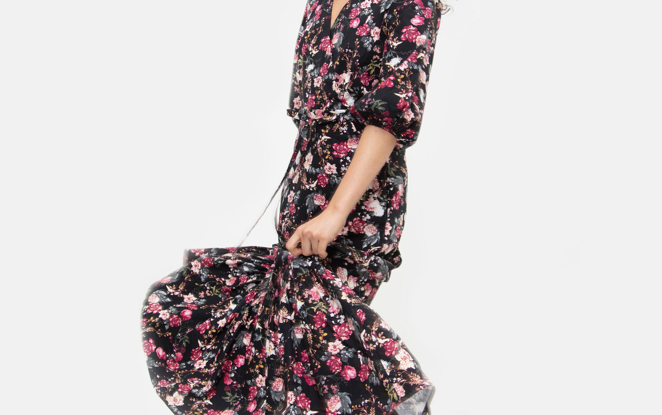 Floral Printed Poplin Puff Sleeve Maxi Vivian Dress