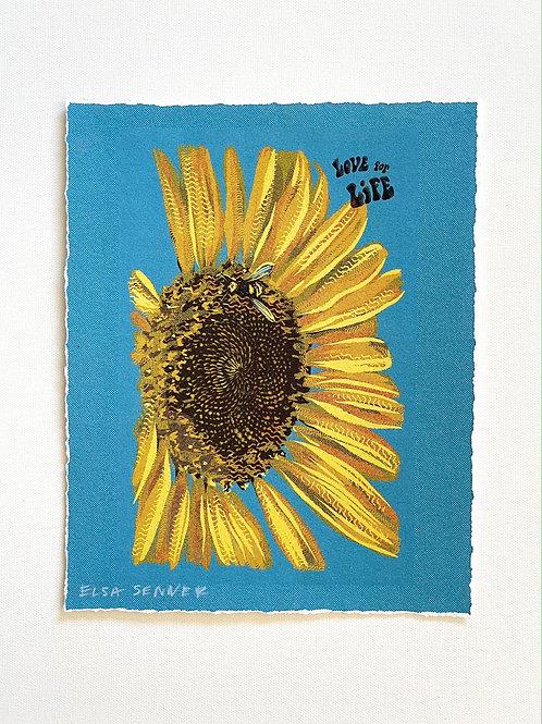 "Love For Life Sunflower Print 8x10"""