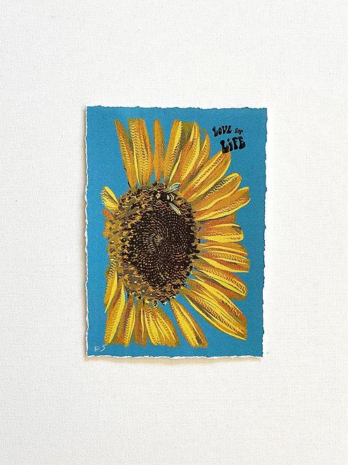 "Love For Life Sunflower Print 5x7"""