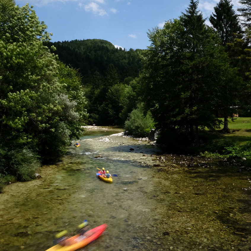 Kayaking down the streams of lake bohinj, Slovenia