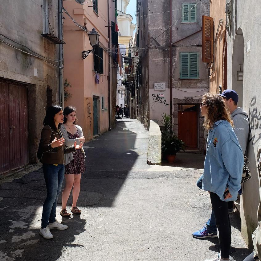 Exploring the streets of Zagarolo on the Wiki Hostel walking tour.