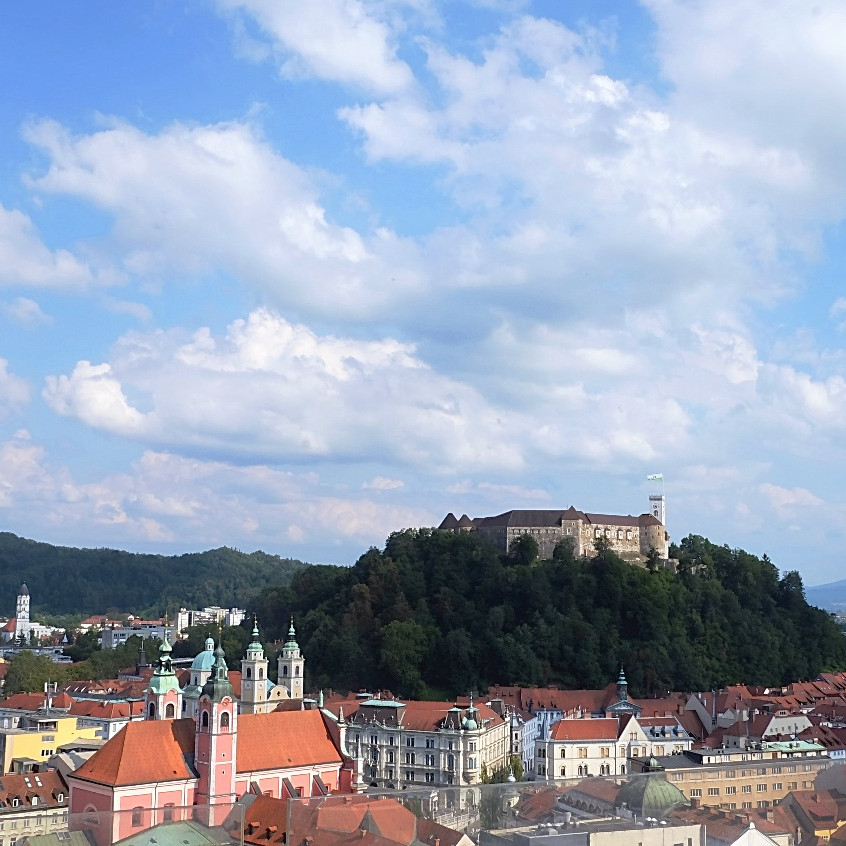 View of the Ljubljana castle from Neboticnik.