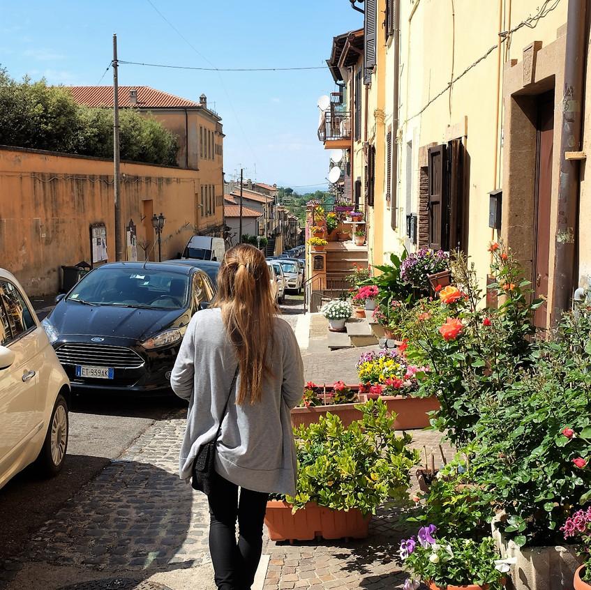 Stephanie Frade walking the streets of Zagarolo