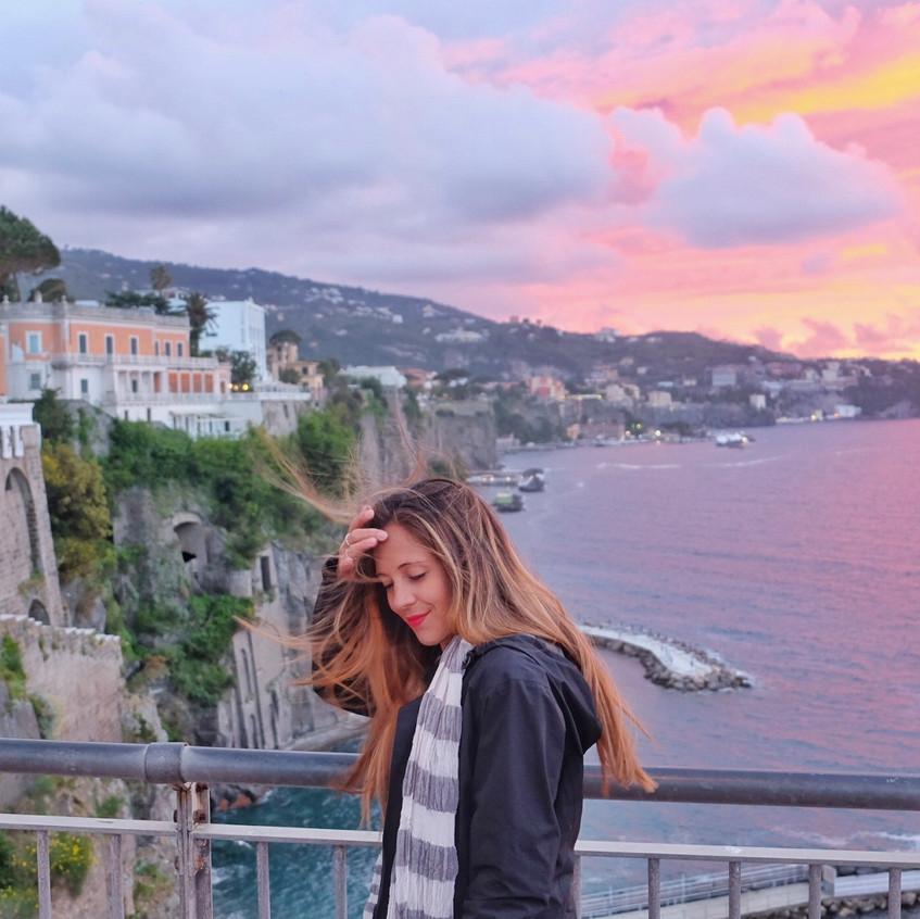 Beautiful sunset view of Sorrento