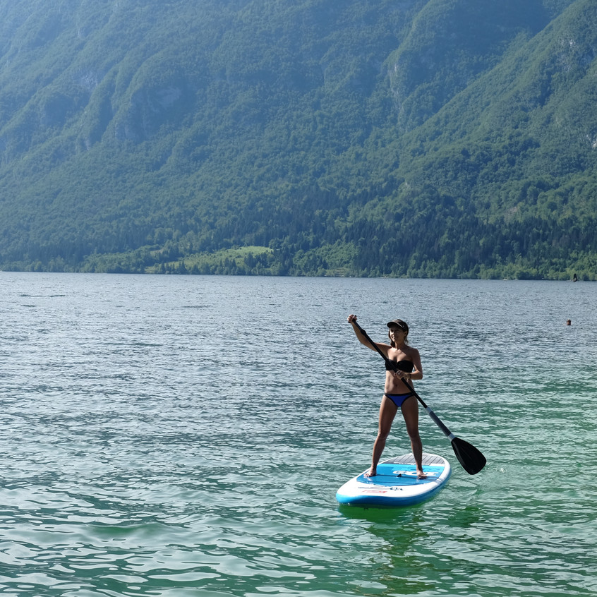 Stand up paddle boarding, Lank Bohinj, Slovenia.