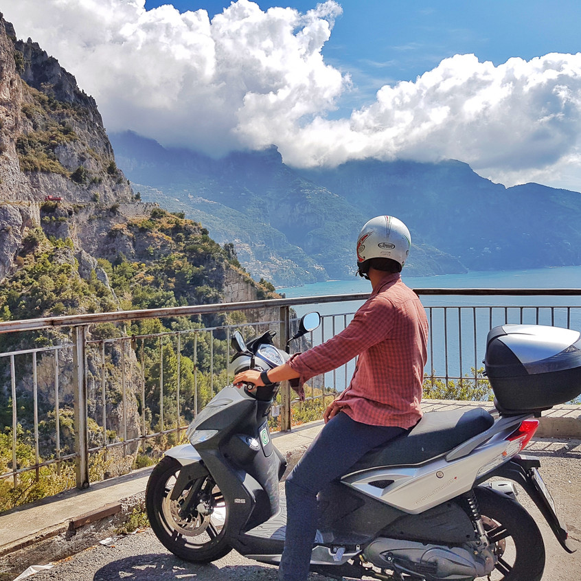 Stopping to catch the view along the Amalfi coast