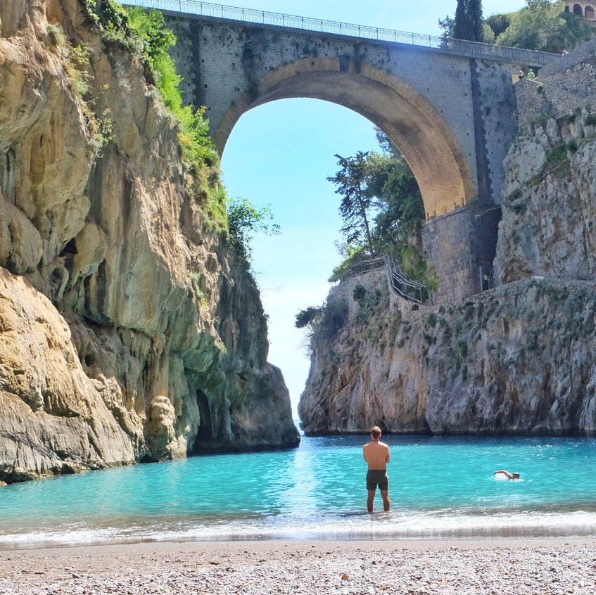 Hidden beach between Amalfi and Positano. Limited parking available.