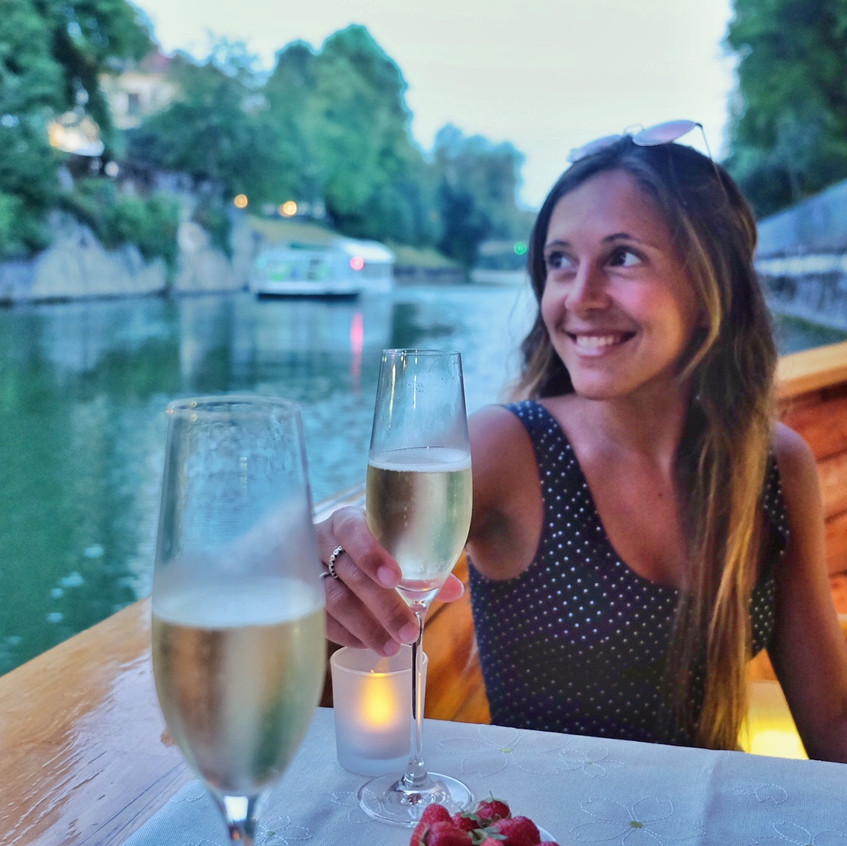 Stephanie Frade enjoying a romantic river cruise, The wooden Boat, Ljubljana.
