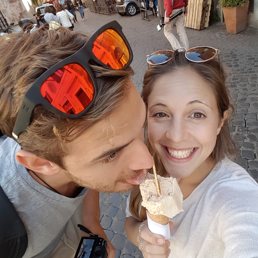 Andrew and Steph enjoying a gelato in Rome