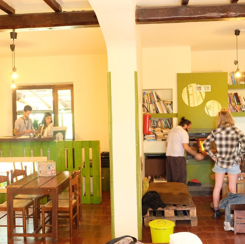 Common area and reception, WIki Hostel, Zagarolo, Rome.