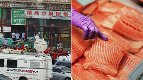Beijing markets stop selling salmon after coronavirus detected on chopping board