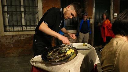 Fileting fish tableside Venice.JPG