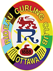 The Rideau Curling Clubs crest but in the LBGTQ+ flag.