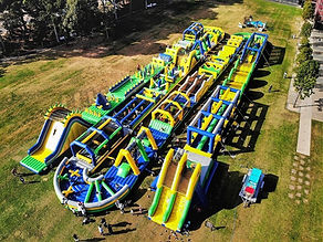 drone shot of the tuff nutterz obstacle course in coomera westfield